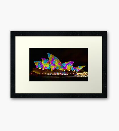 Dress Sails - Sydney Vivid Festival - Sydney Opera House Framed Print
