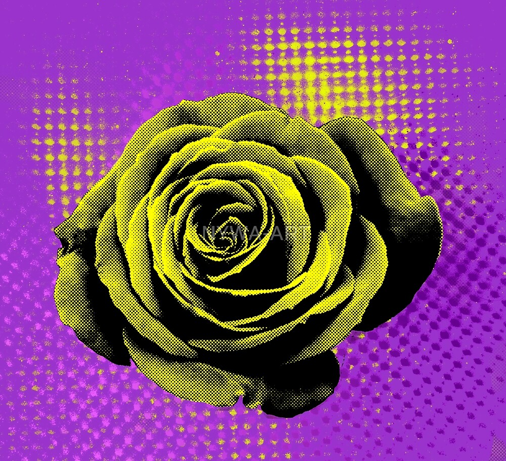 Rose, yellow, violet, red, pop art by NYWA-ART