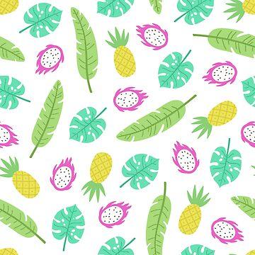 Tropical fruits and leaves by kondratya