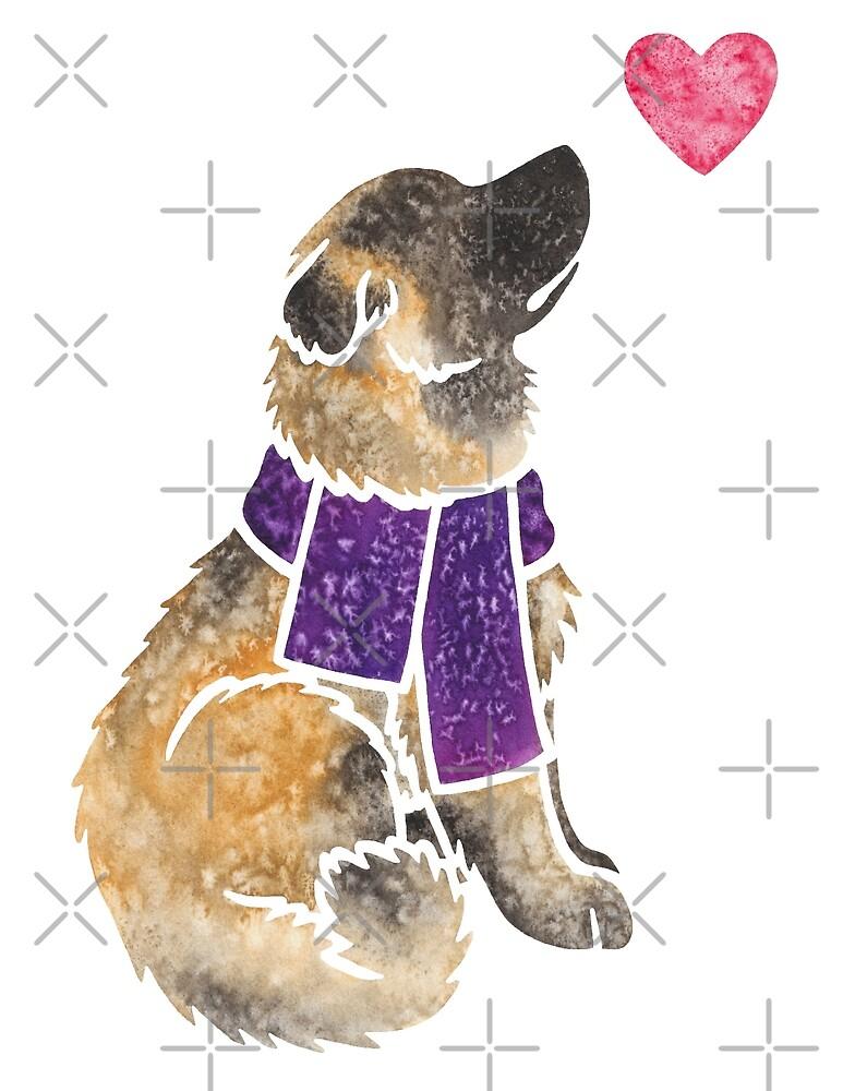 Watercolour Estrela Mountain Dog (fawn) by animalartbyjess