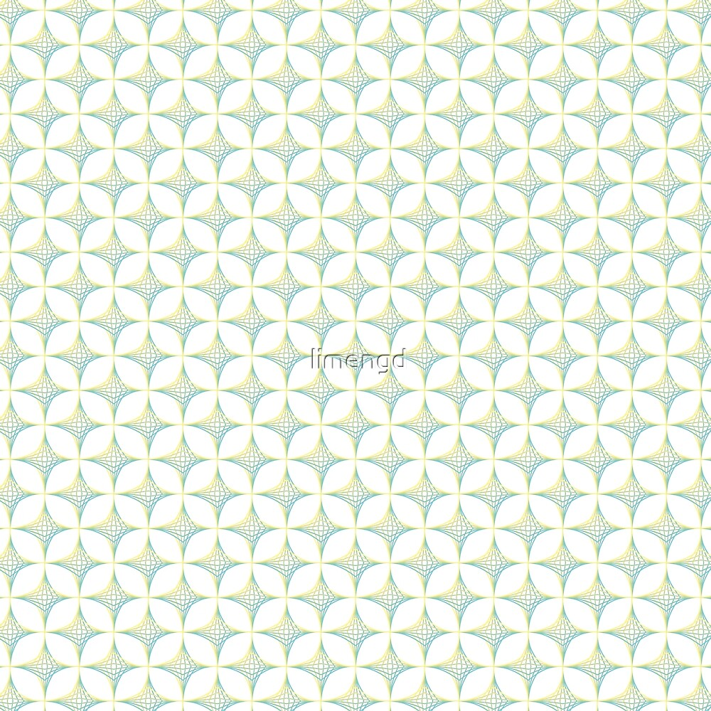Aqua, Green & Yellow Crossed Lines Pattern by limengd