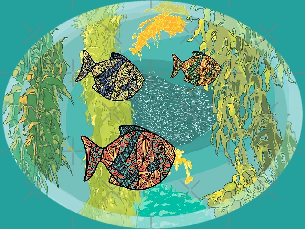 stylized fish in an aquarium by MimieTrouvetou