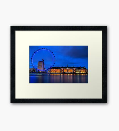 London Eye & Aquarium From Across The Thames Framed Print