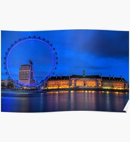 London Eye & Aquarium From Across The Thames Poster