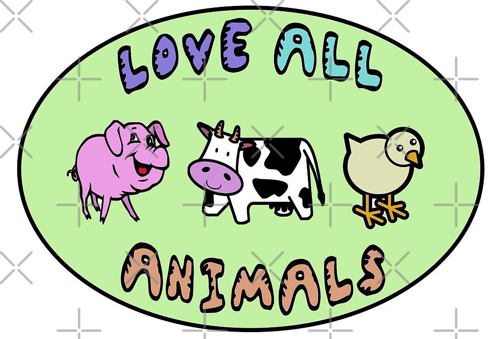 Love all animals cute kawaii vegan by veganstickers