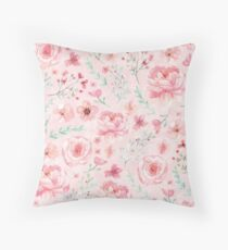 Pink Sweety Rose and Peony Throw Pillow