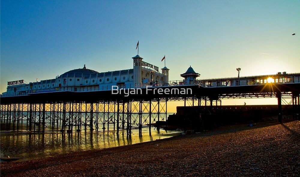 Brighton Pier Sunset - England by Bryan Freeman