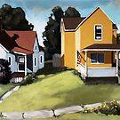 Hometown realistic urban scene original plein air oil painting by LindaAppleArt