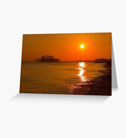 Burnished Sunset - Brighton - England Greeting Card