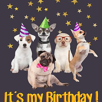 Cute Puppies in Party Hats, 'It's my Birthday'  by MazzaLuzza