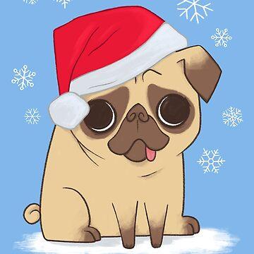Christmas Pug (blue) by BenFarr