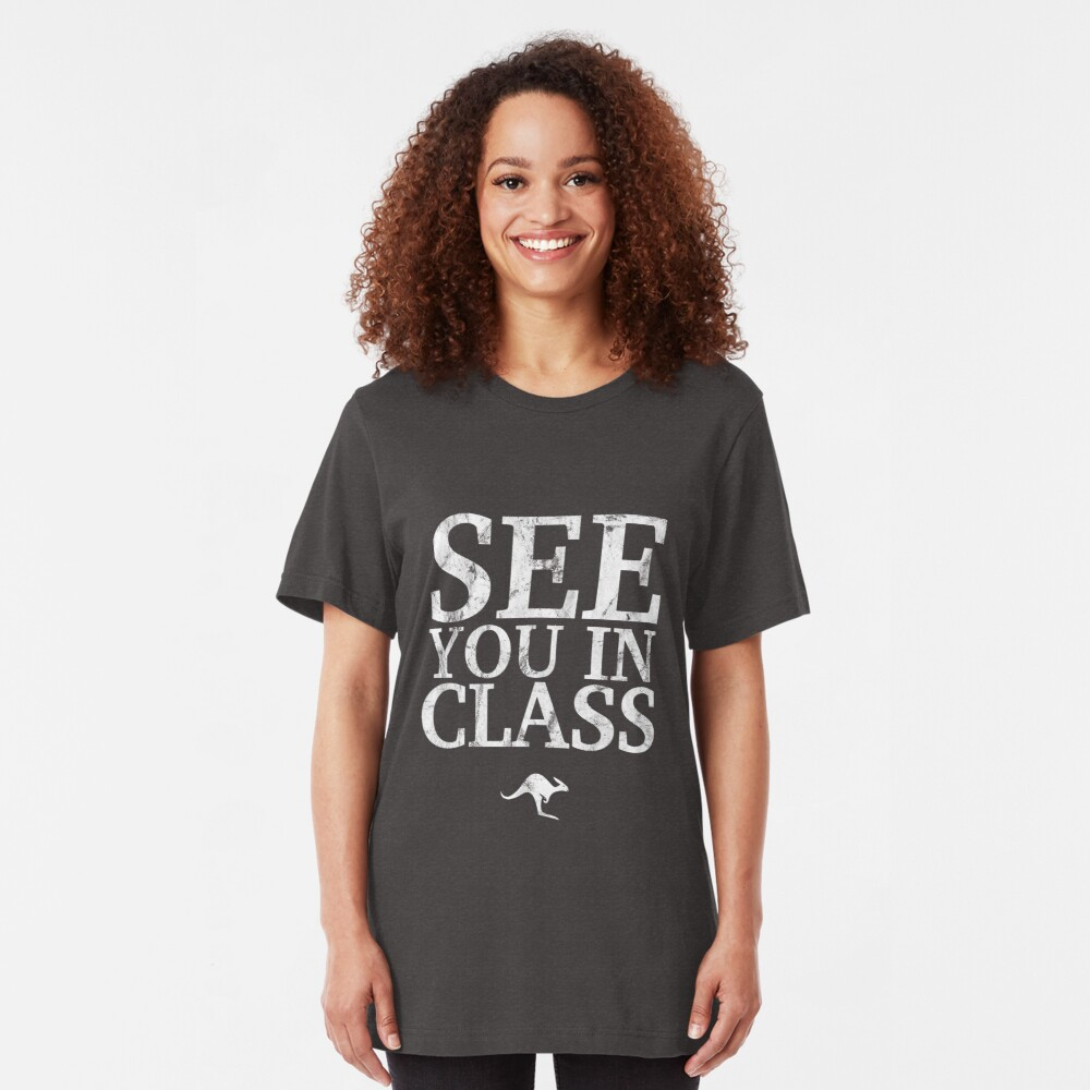See You In Class (White) Slim Fit T-Shirt