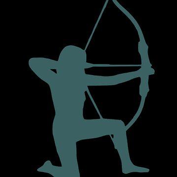Female Archer Silhouette (Camo Green) by Corazonne
