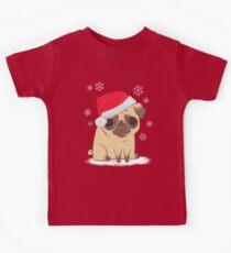 Christmas Pug (red) Kids Tee