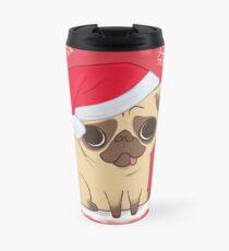 Christmas Pug (red) Travel Mug