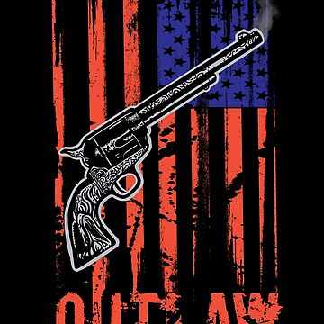 American Flag Cowboy Outlaw Gun Six-Shooter by DOODL