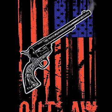 American Flag Cowboy Outlaw Gun Six-Shooter by DOODL