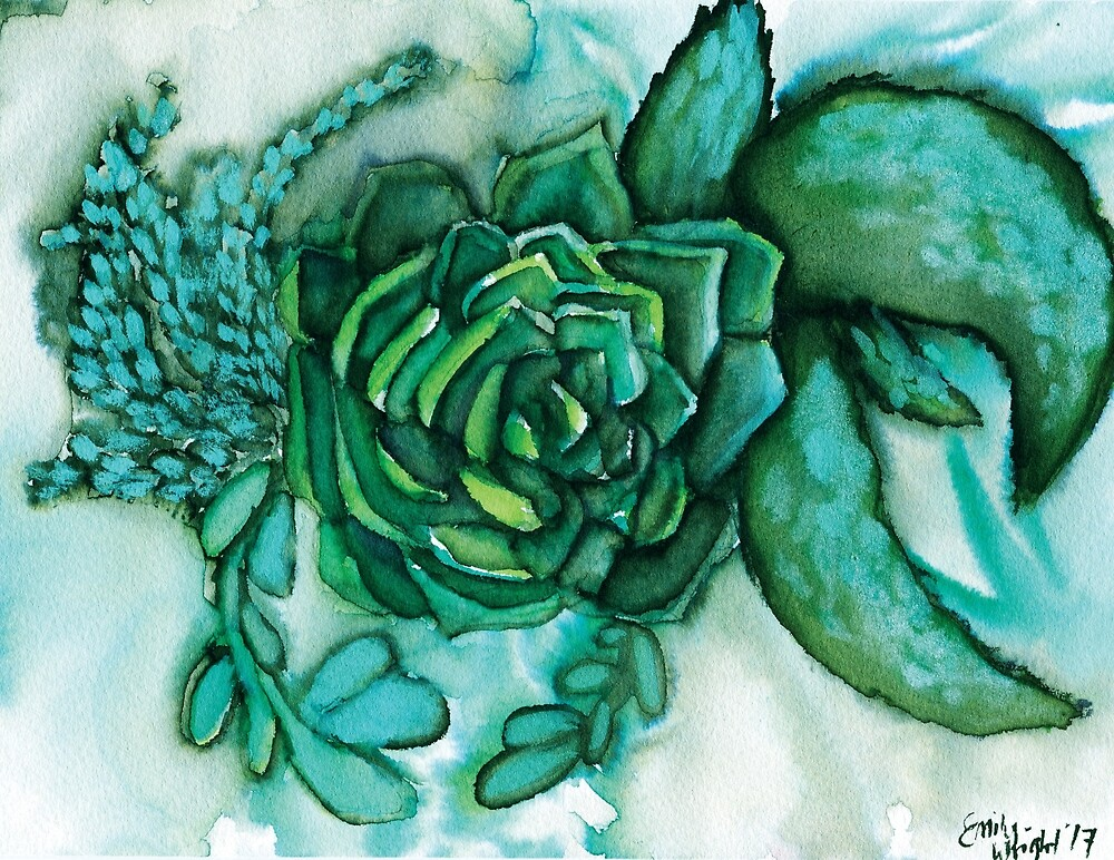 Green Succulents- Loose Painting by ModPaws