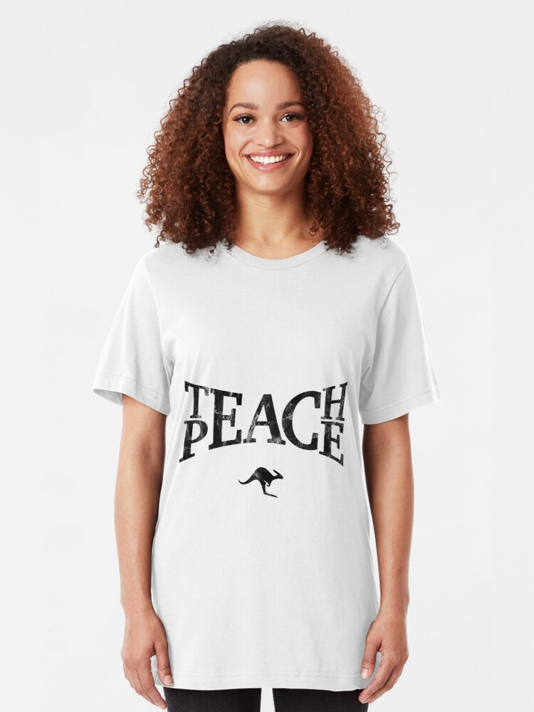 Alternate view of Teach Peace (Black) Slim Fit T-Shirt