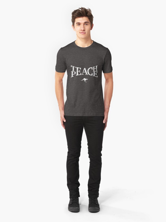 Alternate view of Teach Peace (White) Slim Fit T-Shirt