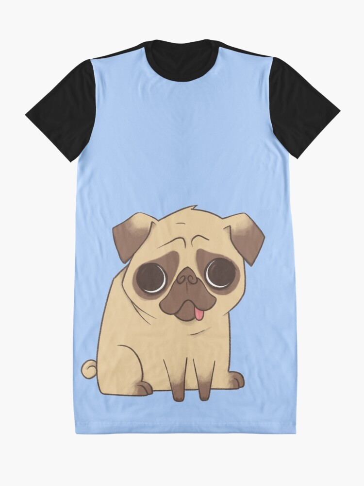 Alternative Ansicht von PUG (blau) T-Shirt Kleid