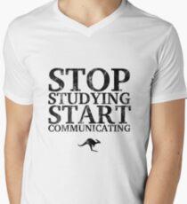 Stop Studying, Start Communicating (Black) Men's V-Neck T-Shirt