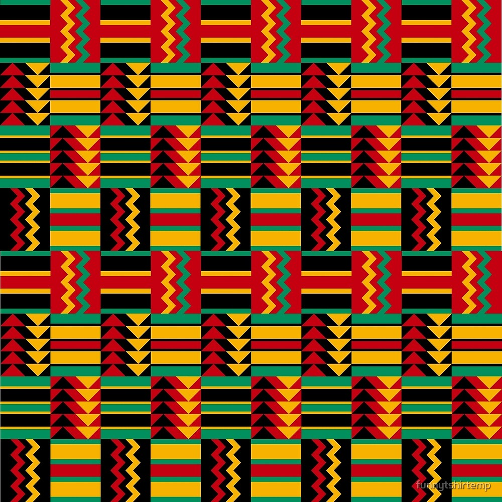 African Pattern Design Red Green Black Yellow Africa by funnytshirtemp