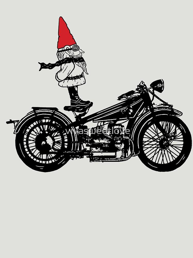 Biker Gnome Line Drawing by vivasweetlove