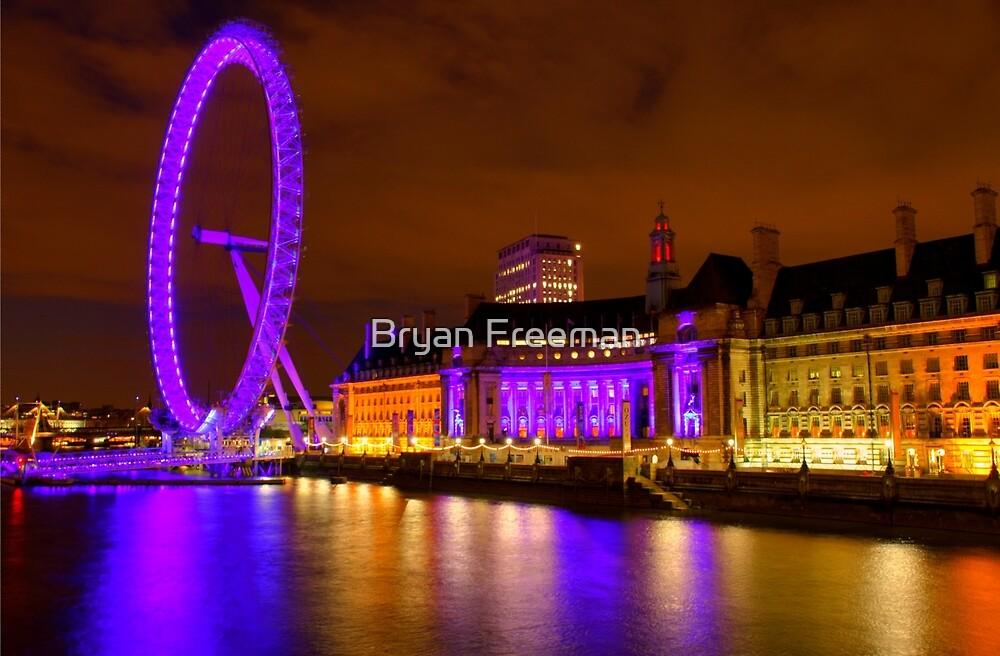 The London Eye & Aquarium at Night by Bryan Freeman