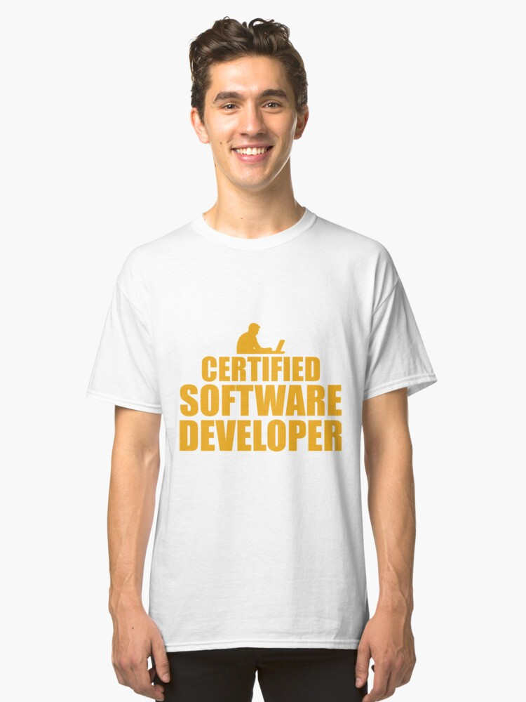 Certified Software Developer License Gift Classic T-Shirt Front