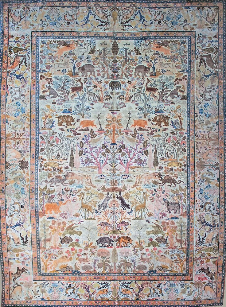 Antique Tabriz Persian Rug with Animals by Vicky Brago-Mitchell