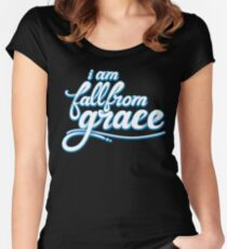 iamfallfromgrace - Text - White & Blue Fitted Scoop T-Shirt