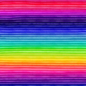 Rainbow Water Colour Stripes - Horizontal. 002 by ColourPortal101