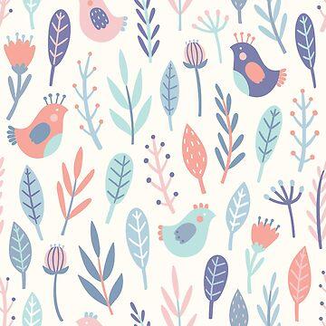 Cute birds and plants by kondratya