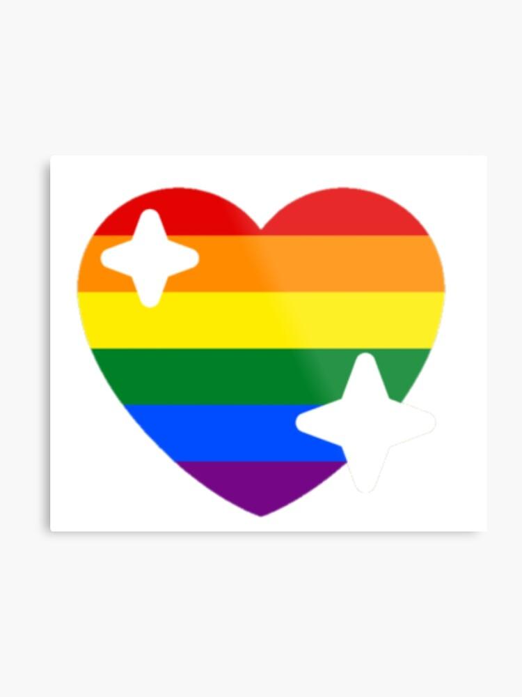 Rainbow Gay Pride Flag Sparkle Heart Emoji | Metal Print