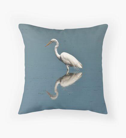 White  Egret Throw Pillow