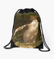 The rare yellow eyed penguin Drawstring Bag