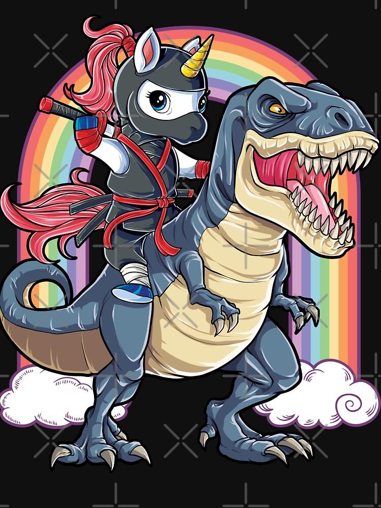 """unicorn ninja riding dinosaur t shirt t rex kids girls"