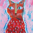 Funky Red Cat by BeaRobertsArt