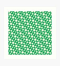 Off-White Four Leaf Clover Pattern with Green Background Art Print