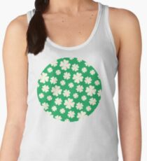 Off-White Four Leaf Clover Pattern with Green Background Women's Tank Top