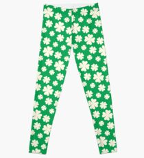 Off-White Four Leaf Clover Pattern with Green Background Leggings