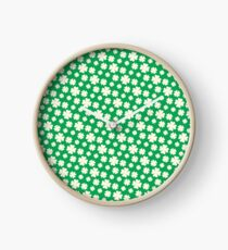 Off-White Four Leaf Clover Pattern with Green Background Clock