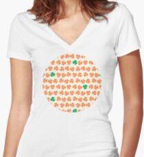 Orange & Green Shamrock Pattern Women's Fitted V-Neck T-Shirt