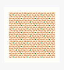 Orange & Green Shamrock Pattern Art Print