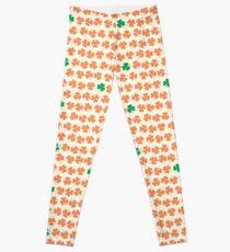 Orange & Green Shamrock Pattern Leggings