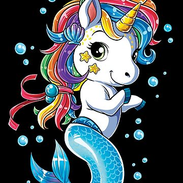 Unicorn Mermaid Mermicorn T Shirt Kids Girls Boys Rainbow Squad Cute Gifts Party by LiqueGifts
