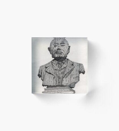 113 - MATTHEW WHITE RIDLEY STATUE - DAVE EDWARDS - INK - 1985 Acrylic Block