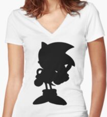 Classic Sonic Silhouette - Black Women's Fitted V-Neck T-Shirt