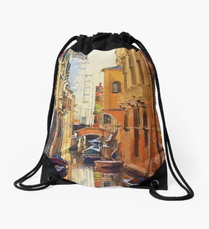 Vector Venice, Italy Canal Drawstring Bag